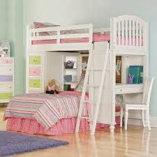 Charming Space Saving Shared Bedroom Decoration With Various Ikea White  Bunk Bed : Stunning Shared Girl ...