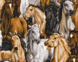 Horses fabric | Etsy & Allover Horses Fabric - 100% Cotton Quilting Apparel Crafts Home decor Adamdwight.com