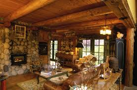 ... Extraordinary Image Of Log Cabin Interior Design Ideas : Stunning Rustic  Living Room Decoration With Log ...