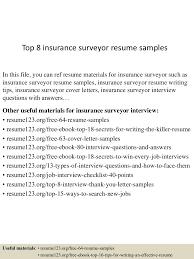 top8insurancesurveyorresumesamples 150730023644 lva1 app6891 thumbnail 4jpgcb1438223854 sample insurance resume