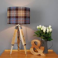table lamp and harris tweed check shade