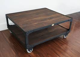 wood coffee table set. Matching Industrial Furniture - Wood Top Coffee Table And End Set E