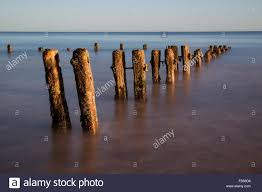 Old Groynes Surrounded By A Rising Sea On An Incoming Tide