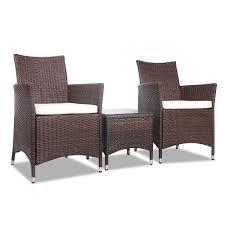 Buy gardeon 3 piece wicker outdoor furniture set brown best online crazykart shop