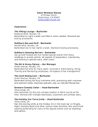 Experience For Resume Sample Bartender Feat The Viking Lounge And