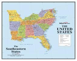 southeast usa wall map  mapscom