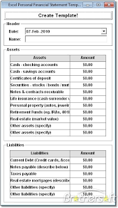 Mortgage Statement Template Excel Excel Personal Financial Statement Template Software Create Custom