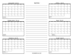 6 Month Calendar 2015
