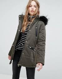 new look faux fur trim parka coat khaki women s jackets is12pji7 prevnext