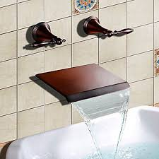 waterfall bathtub faucet oil rubbed bronze wall mount double handles mixer tap