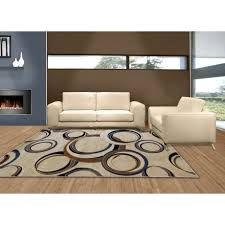 picture of circle design hand carved modern rings rug