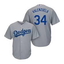 Official Angeles Grey Fernando Jersey Men's Road Cool Los Majestic Mlb Valenzuela Base Dodgers Replica