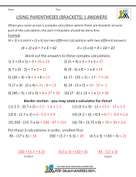 math worksheets 5th grade using paheses 1 using paheses sheet 1 sheet 1 answers