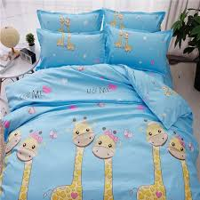 blue and yellow bedding set twin full king queen size kids polyester animal print giraffe