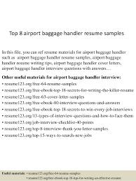 Brilliant Ideas Of Resume Airline Baggage Handler Top 8 Airport