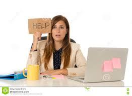 Sad Desperate Businesswoman In Stress At Office Computer Desk