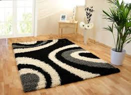 new large thick black grey cream ivory white gy swirl rug 120x170cm