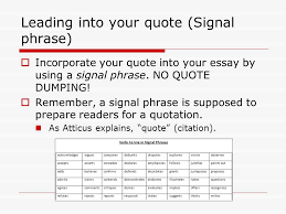 starting to write your literary analysis ms torresani ppt leading into your quote signal phrase iuml129macr incorporate your quote into your essay by