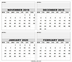 November December 2019 January February 2020 Calendar