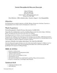 Receptionist Objective Resume Best Of Resume Dental Receptionist Dental Office Front Desk Duties Sample