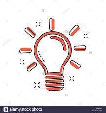Light Bulb Symbol Copy And Paste Cartoon Light Bulb Icon In Comic Style Idea Sign