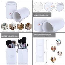 makeup brush holder large pu leather cosmetics cup storage organizer case white emocci