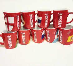 5 ★ 4 ★ 3 ★ 2 ★ 1 ★. Nescafe Coffee Mug Cup Set Red Square Design Cheekymug Easter Present Free Post Mugs Whitlockmillsjc Collectables