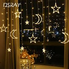Fairy Lights Moon Us 6 49 35 Off Moon Star Led Curtain Lamp String Christmas Lights Decoration Holiday Lights Curtain Lamp Wedding Neon Lantern 220v Fairy Light In