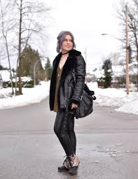 express yourself styling a tunic sweater with faux leather leggings wedge booties and an aviator jacket