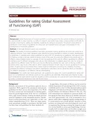Pdf Guidelines For Rating Global Assessment Of Functioning