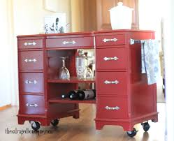 kitchen island bar cart from vintage desk to modern rolling cart the salvaged boutique