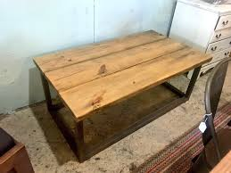 handmade coffee table modern farmhouse look living room furniture and decor light walnut top with dark gray base