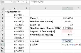 how to perform a one sle t test in excel