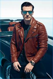sporting a brown leather biker jacket go miguel stars in guess fall winter