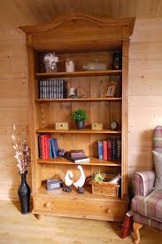 rustic solid waxed pine wood large armoire bookcase cabinet wall shelving unit