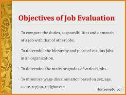 objectives for jobs job evaluation definition methods objective