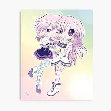 Anime girl, anime love, anime couple, anime kiss, anime cute, anime kawaii. Hyperdimension Neptunia Neptune And Nepgear Photographic Print By Chibi Neko Redbubble