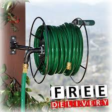 wall mount garden hose reel heavy duty lawn yard garden storage holder