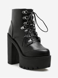 block heel pu leather platform short boots black eu 38