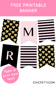 Free Printable Banners Striped Gold Heart Banner Free Printable Banner Printable Banner