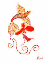 Red Koi Digital Art by Myra Miller