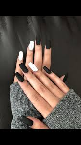Solid Color Acrylic Nail Designs Matte Black And Marble Cute Acrylic Nails Solid Color