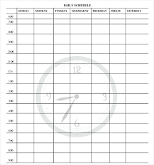 Daily Time Schedule Template Time Schedule Template Free Weekly Daily Word Management Templates
