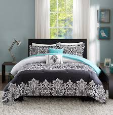 black white teal blue comforter set medallion scroll teen bedding twin full queen king