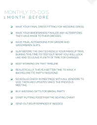 EDIT) WEDDING PLANNING MONTHLY TO-DO'S - 1 MONTHS — LIL EPIC DESIGN