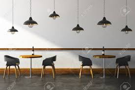 contemporary cafe furniture. Contemporary Cafe Interior With Furniture And Ceiling Lamps. Lifestyle Design Concept. 3D Rendering R