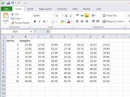 a data set with 10 data series with 7 samples per series