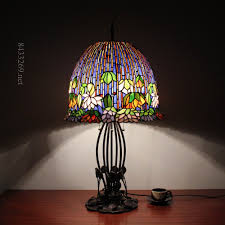 Discount Tiffany Style Lighting 18inch Wide Gorgeous Lotus Flower Tiffany Style Table Lamp With Stained Glass Buy Table Lamp Tiffany Style Table Lamp Stained Glass Table Lamp