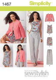 Simplicity Patterns Amazing Simplicity 48 Misses' Miss Petite Top Jacket Pants Skirt