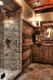 Barn wood walls, alder cabinets, slate tile and river rock tile & a  frameless. Log Cabin BathroomsRustic ...